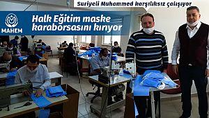 İskilip Halk Eğitim'de 15 gönüllü maske dikiyor