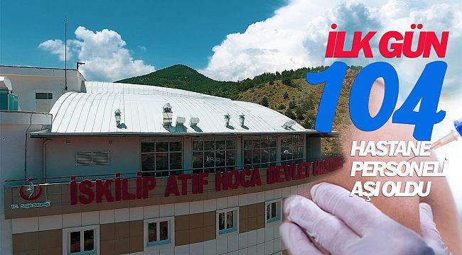 İskilip'te ilk gün 104 personel aşı oldu