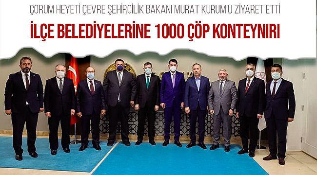 Çorum Heyeti, Çevre ve Şehircilik Bakanı Murat Kurum'u ziyaret etti.