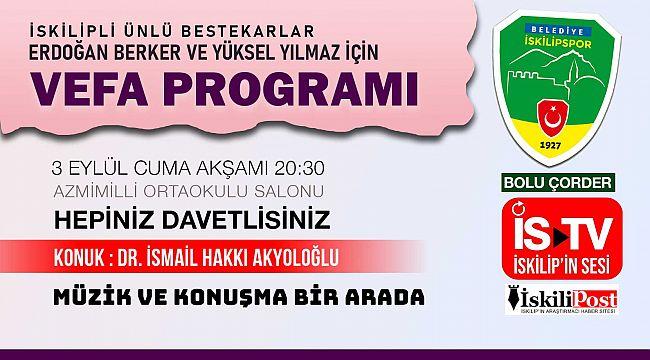 İskilip'te Erdoğan Berker ve Yüksel Yılmaz anısına program düzenleniyor